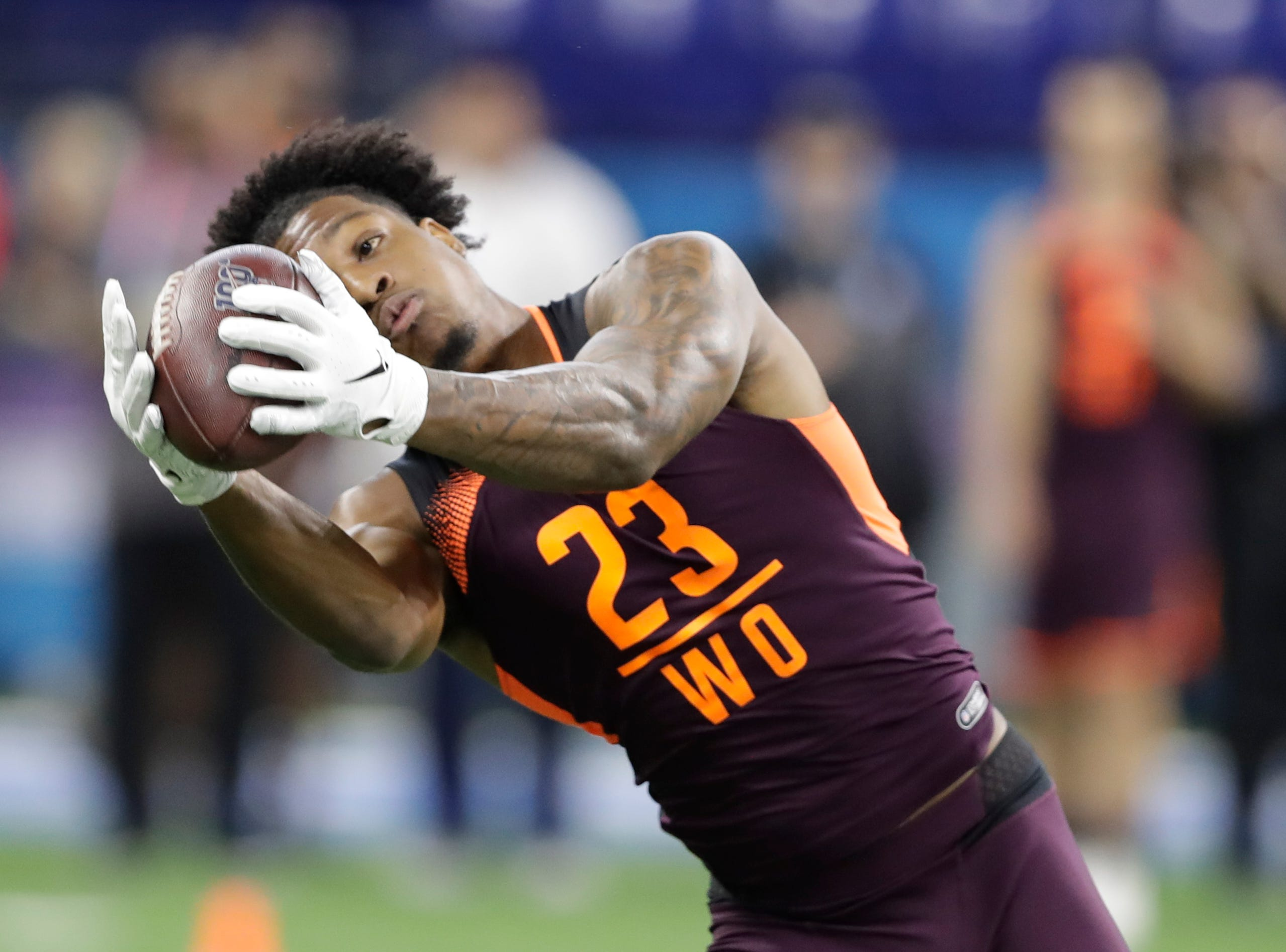 Arizona State wide receiver N'Keal Harry runs a drill during the NFL football scouting combine, Saturday, March 2, 2019, in Indianapolis. (AP Photo/Darron Cummings)