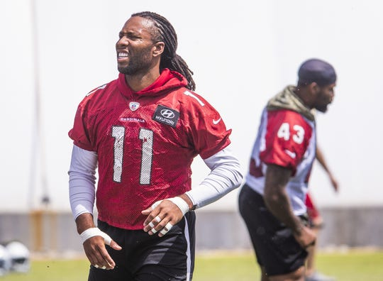 Arizona Cardinals wide receiver Larry Fitzgerald shows up for mini camp, preparing for his 16th season with the Cardinals, Tuesday, April 23, 2019.