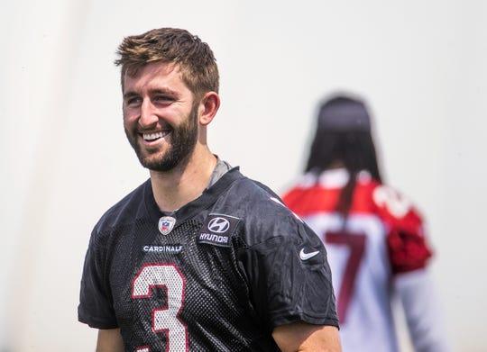 Arizona Cardinals quarterback Josh Rosen smiles at the first day of mini camp at the Tempe training facility, Tuesday, April 23, 2019.
