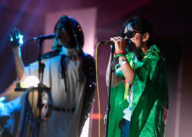 INDIO, CA - APRIL 20:  Orono Noguchi of Superorganism performs at Sonora Stage during the 2019 Coachella Valley Music And Arts Festival on April 20, 2019 in Indio, California.  (Photo by Frazer Harrison/Getty Images for Coachella)