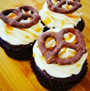 Chocolate Salted Caramel Pretzel cupcakes by Lauri Blake of Mid-Hudson Cakes.