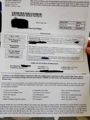 York County alerted residents on its Facebook page April 23, 2019, about a scam to collect fees for providing property assessment information. The county advised residents to ignore the letters.
