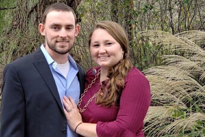 Olivia Cunningham, right, poses with her husband Caleb Cunningham. Photo courtest of GoFundMe.