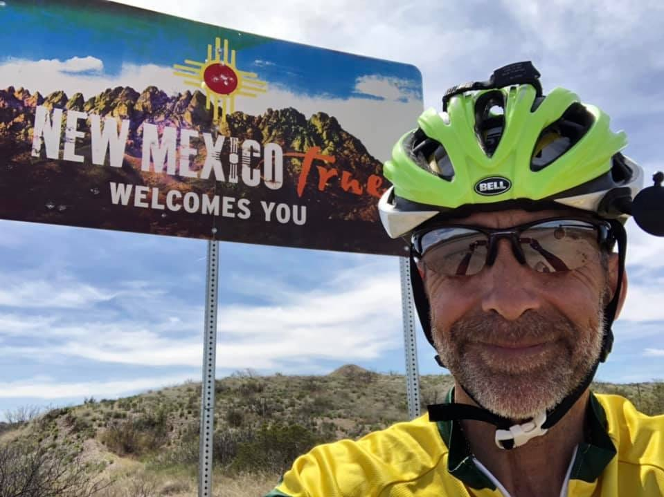 Day 10: Dave Watkins enters New Mexico. Watkins left San Diego, California, on March 31, 2019. He's biking cross-country to raise money for ovarian cancer research, after losing his wife and three other family members to the disease.