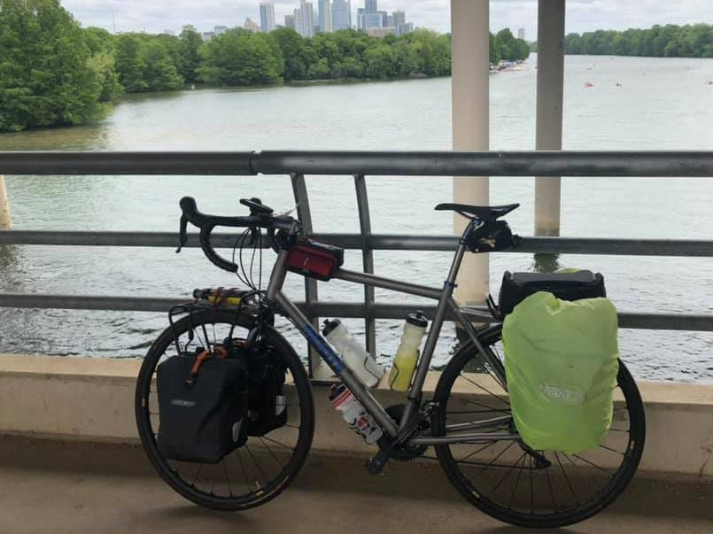 Day 23: Dave Watkins parks his bike near Austin, Texas. Watkins left San Diego, California, on March 31, 2019. He's biking cross-country to raise money for ovarian cancer research, after losing his wife and three other family members to the disease.