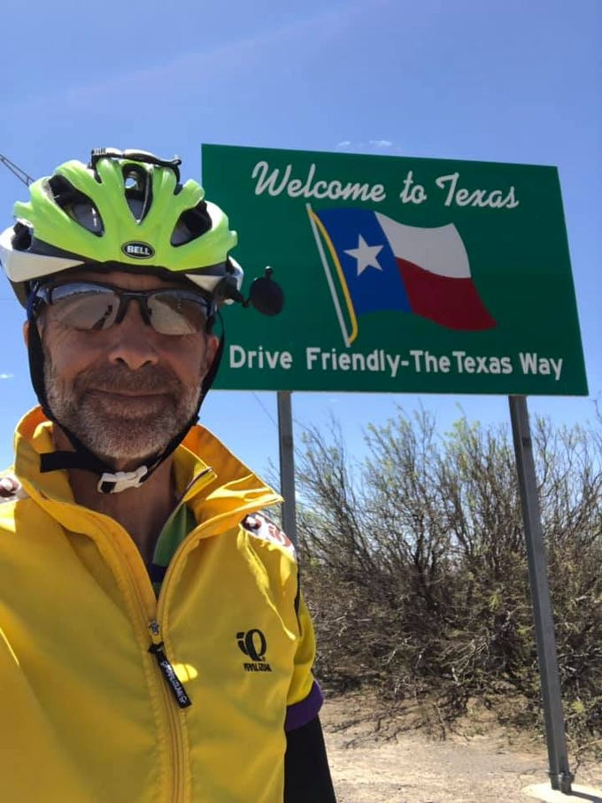 Day 12: Dave Watkins enters Texas. He left San Diego, California, on March 31, 2019. He's biking cross-country to raise money for ovarian cancer research, after losing his wife and three other family members to the disease.