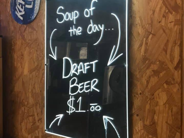 Day 18: The soup of the day is beer? at the Comstock Motel in Comstock, Texas. Dave Watkins left San Diego, California, on March 31, 2019. He's biking cross-country to raise money for ovarian cancer research, after losing his wife and three other family members to the disease.
