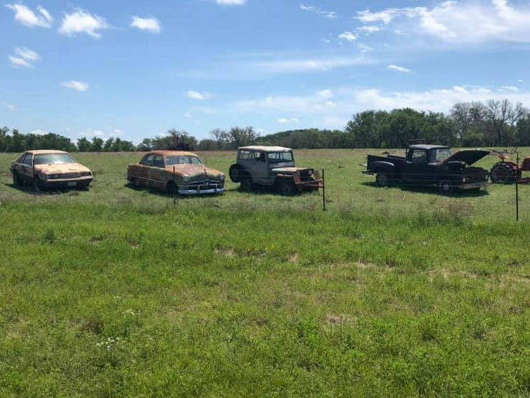Day 24: Old cars wait for their fate in a Texas field. Dave Watkins left San Diego, California, on March 31, 2019. He's biking cross-country to raise money for ovarian cancer research, after losing his wife and three other family members to the disease.