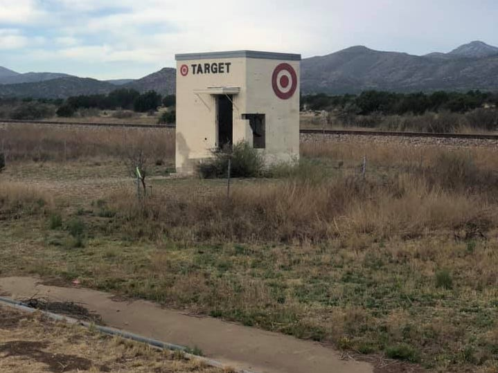 Day 17: A tiny building is made up to look like Target. Dave Watkins left San Diego, California, on March 31, 2019. He's biking cross-country to raise money for ovarian cancer research, after losing his wife and three other family members to the disease.