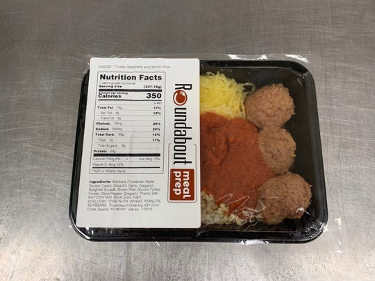 Roundabout Catering of Sparks offers threal meal preparation plans. The meals come sealed in reheating trays with USDA-certified nutrition labels.