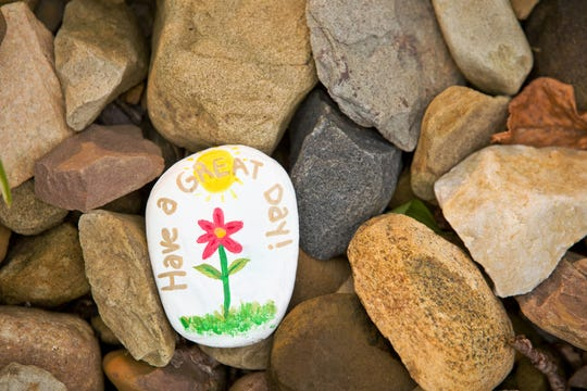 """A painted """"kindness stone"""" laying in a pile of rocks that reads """"Have a nice day!"""""""