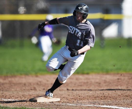 SOTA's Reece Correa rounds third base on his way to a SilverHawks' run during a game at East High School, Monday, April 22, 2019.