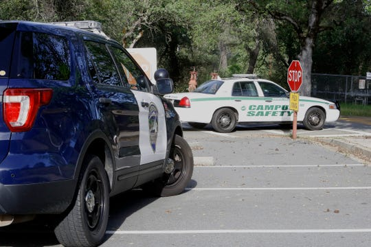 """Redding police went to Shasta College for two incidents Tuesday morning, April 23, 2019. Police said a 29-year-old parolee punched a number of officers in the face in the first incident. Three police units later arrived to deal with a person who an officer said was acting like """"a jerk"""" on campus."""