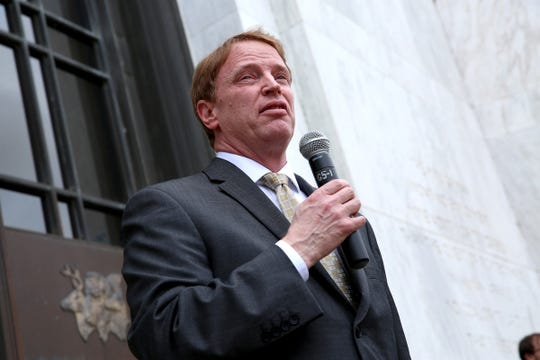Sen. Tim Knopp, R-Bend, speaks during a rally against House Bill 3063, a vaccination bill, at the Oregon State Capitol on April 23, 2019.