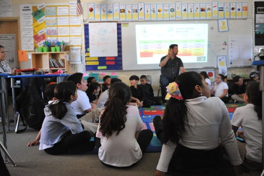 Second grade students at Monte Bella Elementary School practiced mindfulness with JG Larochette, founder and executive director of the Mindful Life Project, on April 23, 2019.