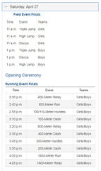 The schedule of events for Saturday at the Region II-1A Track and Field Championships at Angelo State University.