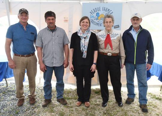 From left: Jim Perdue, chairman of Perdue Farms, Inc., Judges Richard Swartzentruber, Maja Makagon, Temple Grandin and Perdue Farms Inc. CEO Randy Day.