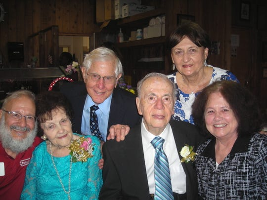 Celebration for Estelle Notini's 100th birthday was at Notini's. Revelers included: Notini owner Jerry Kolniak, Estelle Notini, Harry Gold, Joseph Notini, Carol Ann J. Gold, Susan Kolniak.