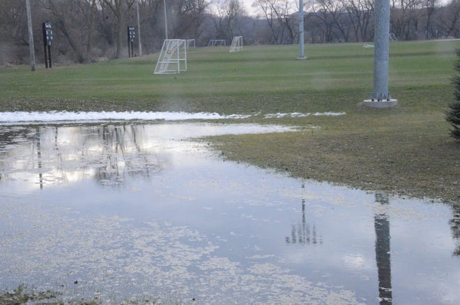 The heavy rains in March and April have resulted in standing water around Brandon.