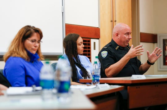 Jim Farrell, director of school police, speaks at a forum about guns and safety in schools at Missouri State University on Monday, April 22, 2019.