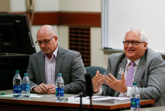 Springfield Public School Board member Gerry Lee speaks at a forum about guns and safety in schools at Missouri State University on Monday, April 22, 2019.