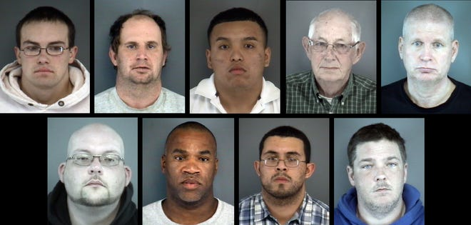 The Staunton Police Department recently conducted a task force investigating the online solicitation of minors. Arrested suspects from top left to right include: Brandon Lee Acord, 22, of Churchville; Jerry Ray Plaugher, 40, of Mount Crawford; Jerson Alexander Orellanna, 19, of Charlottesville; Roy Edwin Cave, 79, of Harrisonburg; Ricky Darrell Beard, 51, of Waynesboro; bottom left to right: Joseph Garvis Mabe, 37, of Lynchburg; David Gray Jordan Jr, 50, of Charlottesville; Gabriel Diaz-Rosero, 31, of Crofton, Maryland; and Wannie Wayne Buzzard, 39, of Timberville.