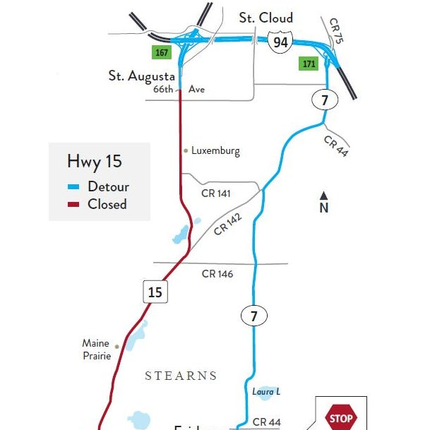 Highway 15 from St. Augusta to Kimball to close May 6