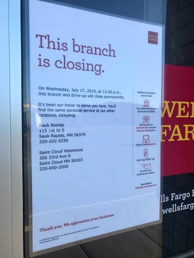 Wells Fargo closing its branch in Sartell