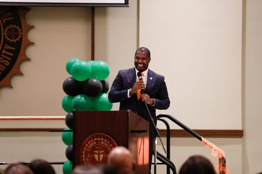 FAMU football head coach Willie Simmons laughs with the crowd during the 2019 Fang Awards on Monday, April 22, 2019.