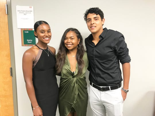 FAMU tennis stars Haleigh Porter (left) Mialiniania Rakotondrazafy and Luis Espinoza celebrate the season at the 2019 Fang Awards. Porter won the Althea Gibson Award as the top player on the team.