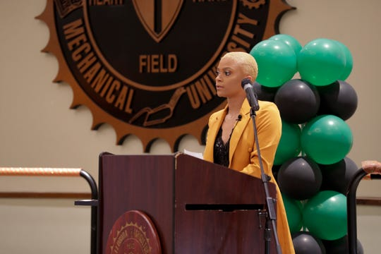 FAMU women's basketball player Morgan Mitchell served as a co-host for the 2019 Fang Awards.