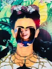 Viv Acevedo peeks out from the Frida Kahlo cut-off at last year's Chain of Parks  Festival.