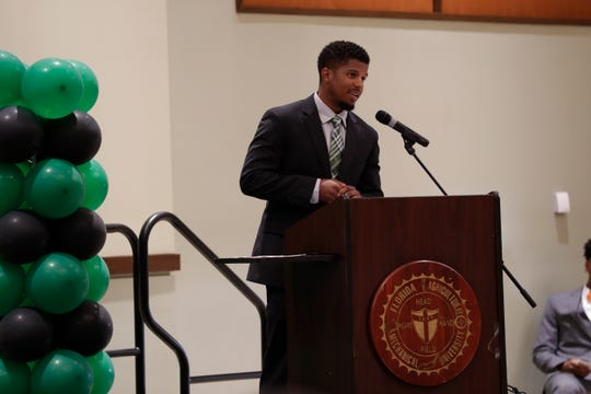 FAMU track and field/cross country head coach Skye Dawson introduces his team at the 2019 Fang Awards in the Grand Ballroom Monday, April 22, 2019.
