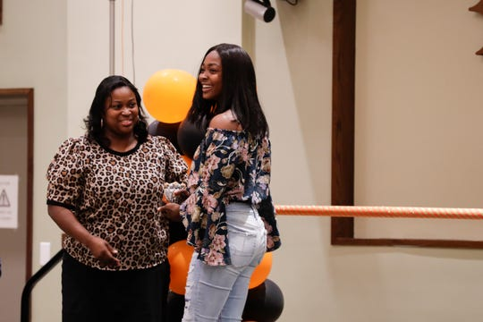 FAMU cheerleader Makayla Bryant receives the Outstanding Leadership Award from head coach Brandi Tatum at the Fang Awards on Monday, April 22, 2019.