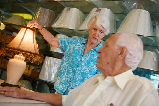 """Donna LaBonte, 89, and her husband Albert, 95, have been married for more than 50 years and operated an electrical repair and fixture business in Vero Beach for decades. On April 30, Albert's 96th birthday, the LaBontes will close their shop, Candlelite, for good. """"We tried to retire 14 years ago when we sold our shop on Royal Palm Pointe,"""" Albert said. """"But we started to suffer from cabin fever and opened this shop."""" The LaBontes have reduced the prices of their inventory drastically, and whatever is left on April 30 will be boxed up and taken to thrift stores."""