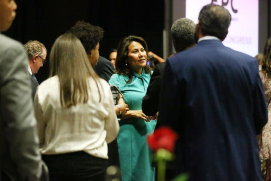 U.S. Rep Veronica Escobar talks to attendees after the annual State of Congress Address at the El Paso Convention Center Tuesday, April 23, in El Paso.