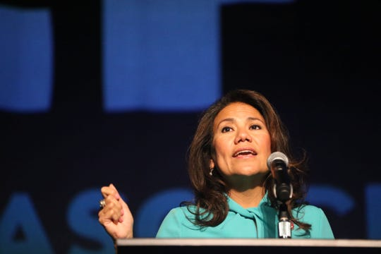U.S. Rep Veronica Escobar speaks during the annual State of Congress Address at the El Paso Convention Center Tuesday, April 23, 2019, in El Paso.