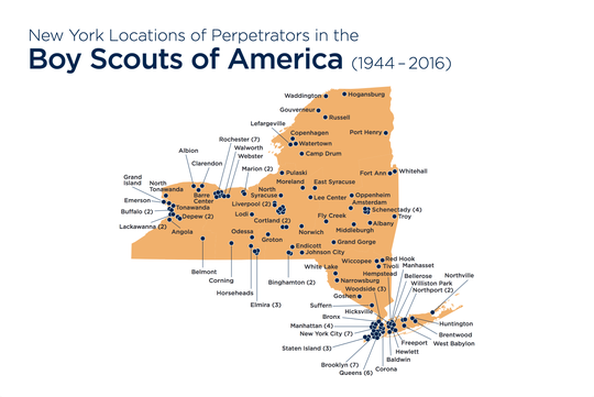 Locations of alleged perpetrators of sexual abuse in New York