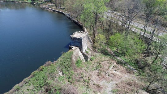 Drone images of the dam on the south end of Reservior Number One in Eastchester on Tuesday, April 23, 2019.