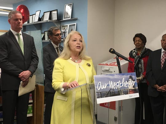 Sherlita Amler, Westchester County health commissioner, speaks to reporters about drug takeback efforts during a news conference at CVS in White Plains, April 23, 2019.
