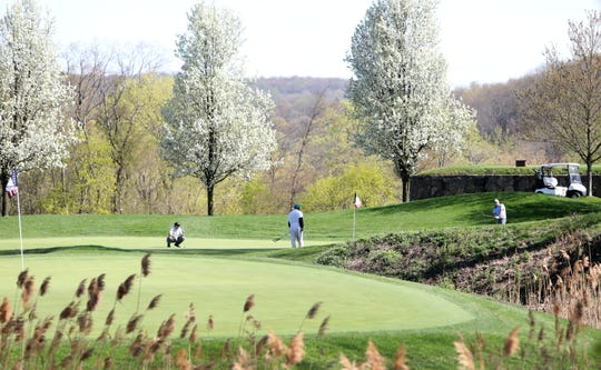 Golfers on the course at Trump National Golf Club Westchester in Briarcliff Manor April 23, 2019.