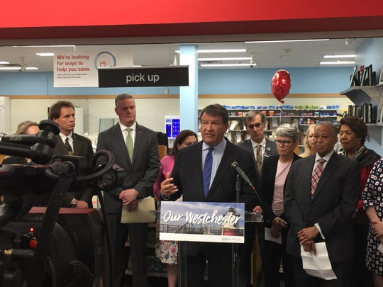 Westchester County Executive George Latimer speaks to reporters about drug takeback efforts during a news conference at CVS in White Plains, April 23, 2019.