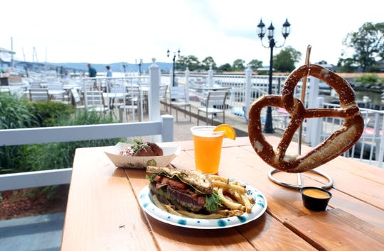 The Wicked tuna sandwich, crab cakes and pretzel are some of the popular items on the menu at Barley on the Hudson in Tarrytown.