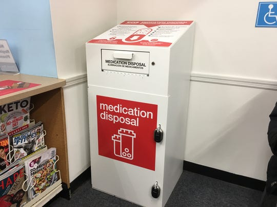 A medication disposal box at CVS. Westchester County lawmakers highlighted drug takeback and prescription drodoff efforts on April 23, 2019.