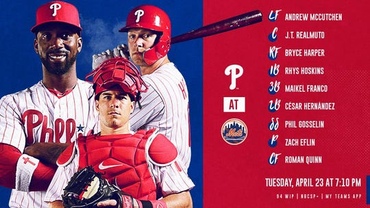 Phillies' lineup vs. Mets Tuesday.