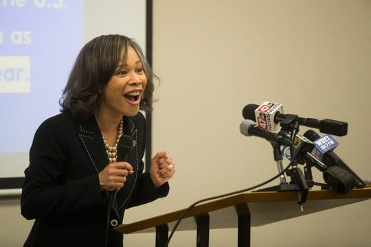 U.S. Representative Lisa Blunt Rochester speaks during a press conference for the Clean Slate Act that would require the automatic sealing of certain criminal records Monday afternoon at the Wilmington HOPE Commission.