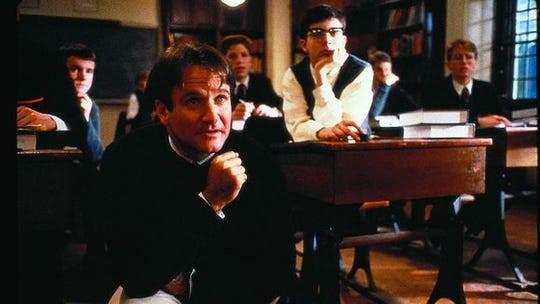 "Robin Williams in ""Dead Poets Society."""