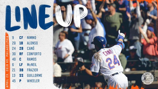 Mets' lineup vs. Phillies Tuesday.