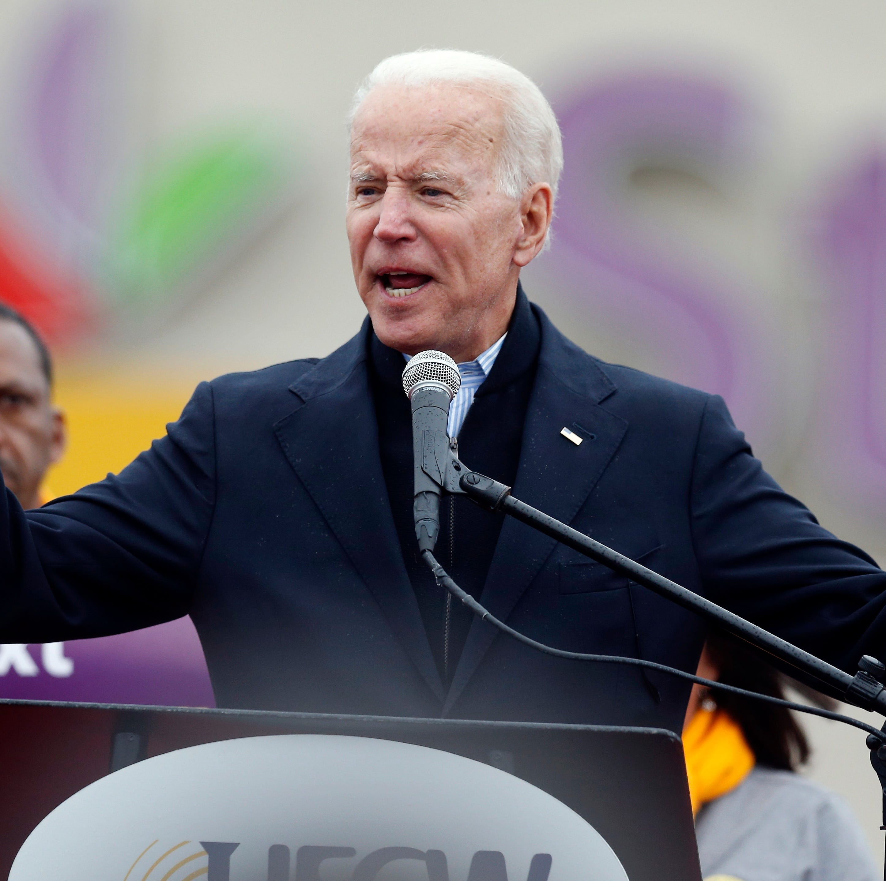 Former Vice President Joe Biden speaks at a rally in support of striking Stop & Shop workers in Boston, Thursday, April 18, 2019.