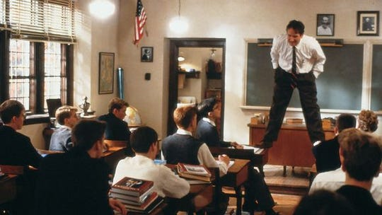 """A scene from """"Dead Poets Society"""" is shot at St. Andrew's School near Middletown."""